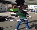 This street performer gives it his all